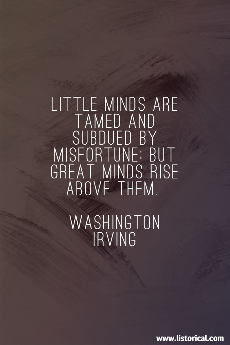 Little minds are tamed and subdued by misfortune; but great minds rise above them. Washington Irving